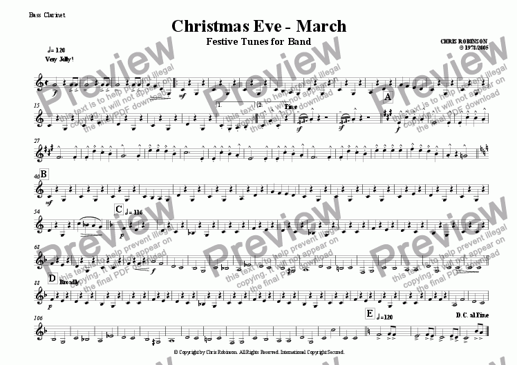 page one of the Bass Clarinet part from Christmas Eve - Festive Tunes for Marching Band