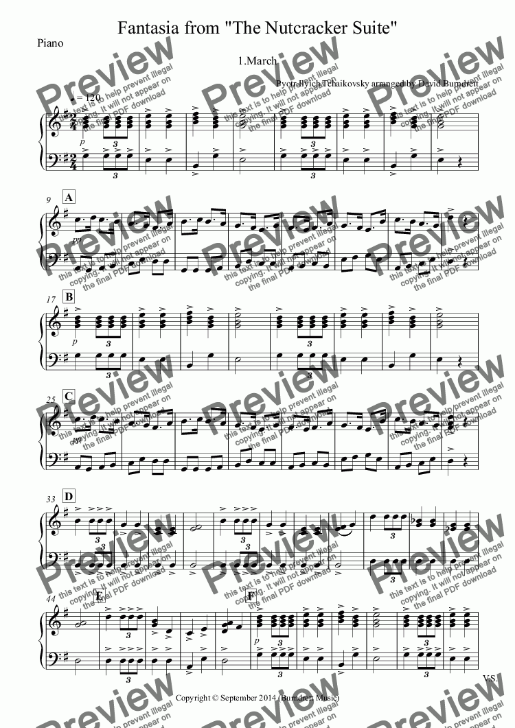 page one of the Piano part from March (Fantasia from the Nutcracker) for Cello Quartet