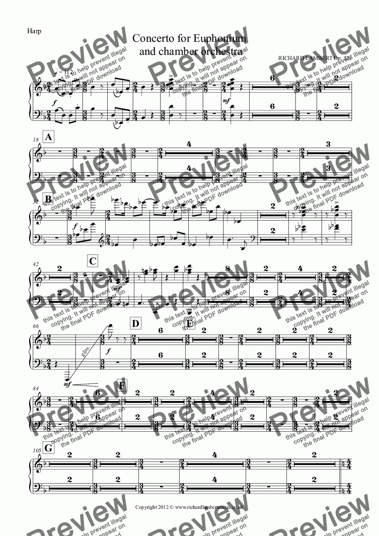 page one of the Harp part from Concerto for Euphonium  and chamber orchestra