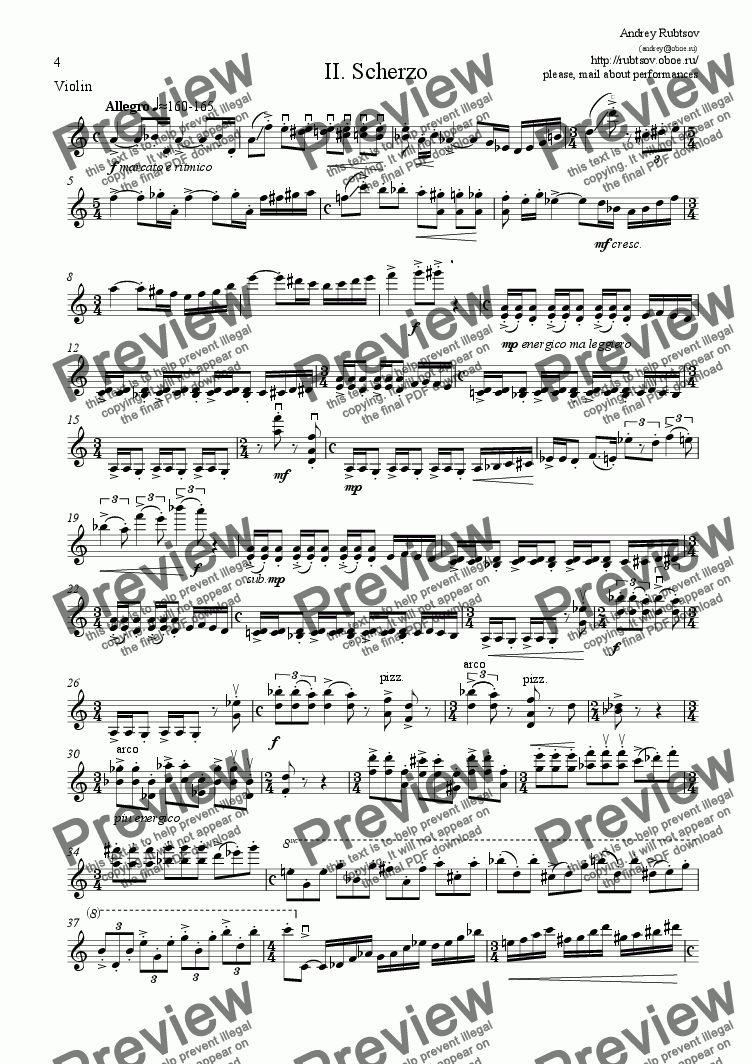 "page one of the Violin part from ""2. <b>Scherzo energico</b>"" from two pieces for Violin and Piano"