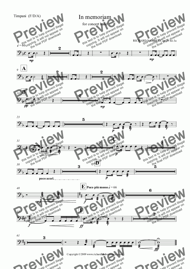 page one of the Timpani  (F/D/A) part from In Memoriam for concert band