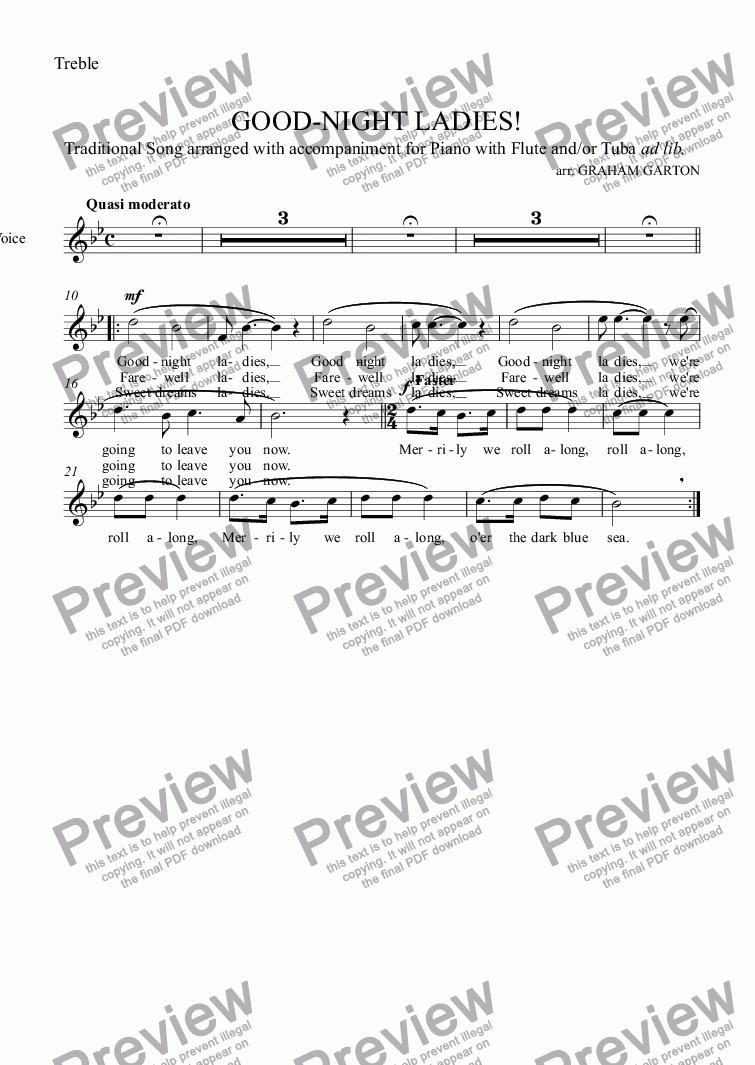 page one of the Treble part from SONG - GOOD-NIGHT LADIES! Traditional tune with Piano and/or Flute and Tuba ad lib. A party piece for the end of a Dinner
