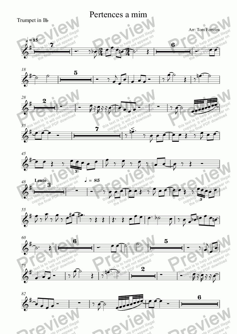 page one of the Trumpet in B^b part from Pertences a mim