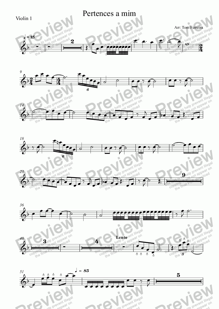page one of the Violin 1 part from Pertences a mim