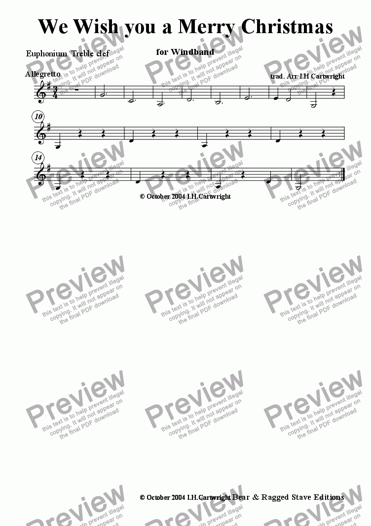 page one of the Euphonium treble clef part from We Wish you a Merry Christmas for wind band