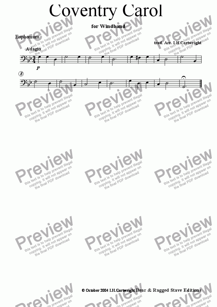 page one of the Euph part from Coventry Carol for wind band