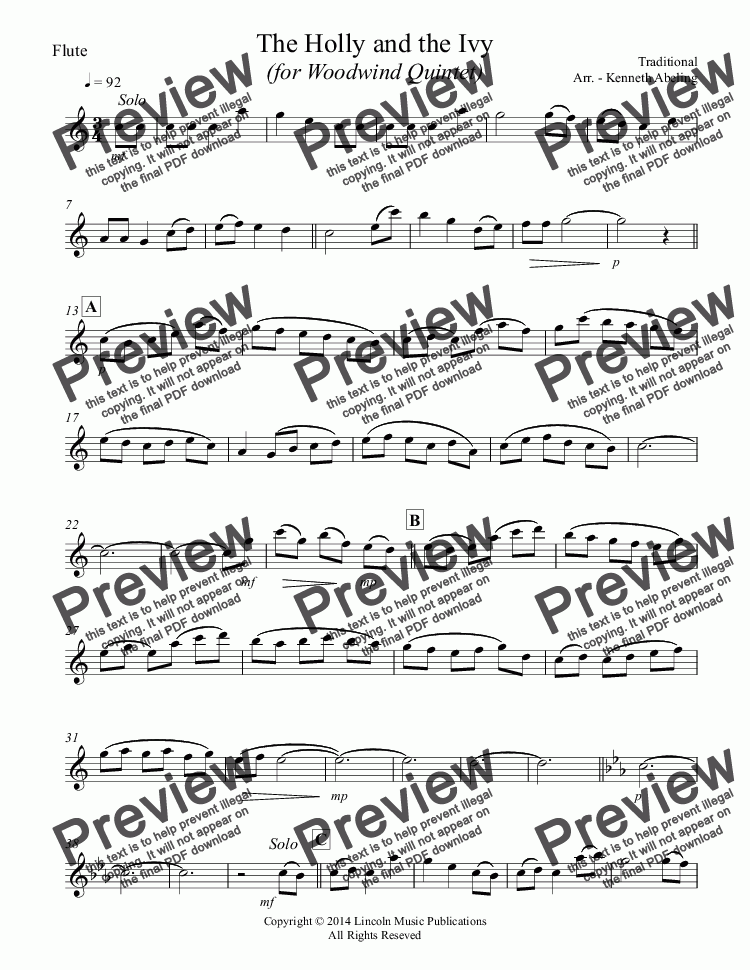 page one of the Flute part from The Holly and the Ivy (Woodwind Quintet)