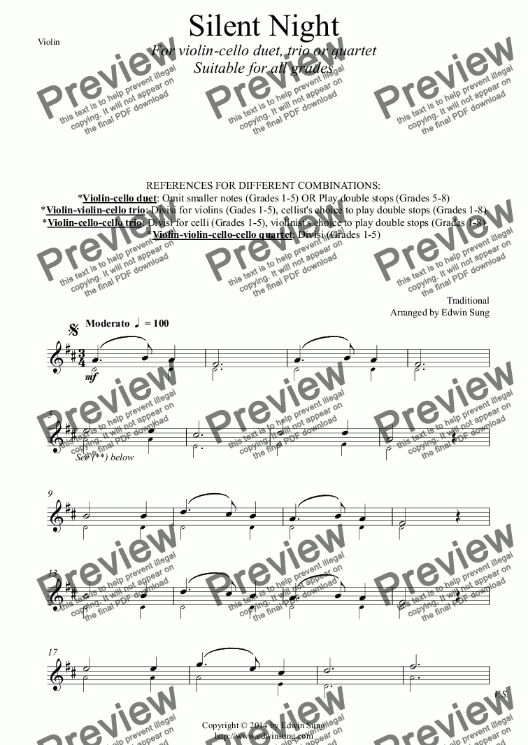 page one of the Violin part from Silent Night (for violin-cello duet, trio or quartet. Suitable for ALL grades)
