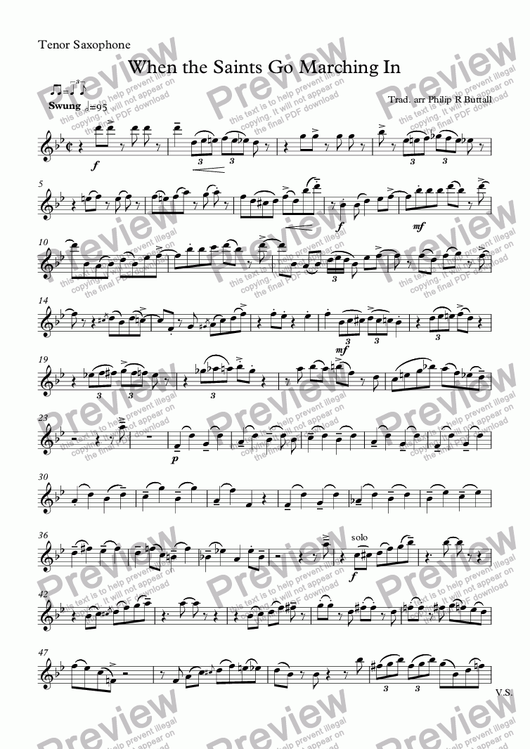 page one of the Tenor Saxophone part from When the Saints Go Marching In (Saxophone Quartet / Quintet)