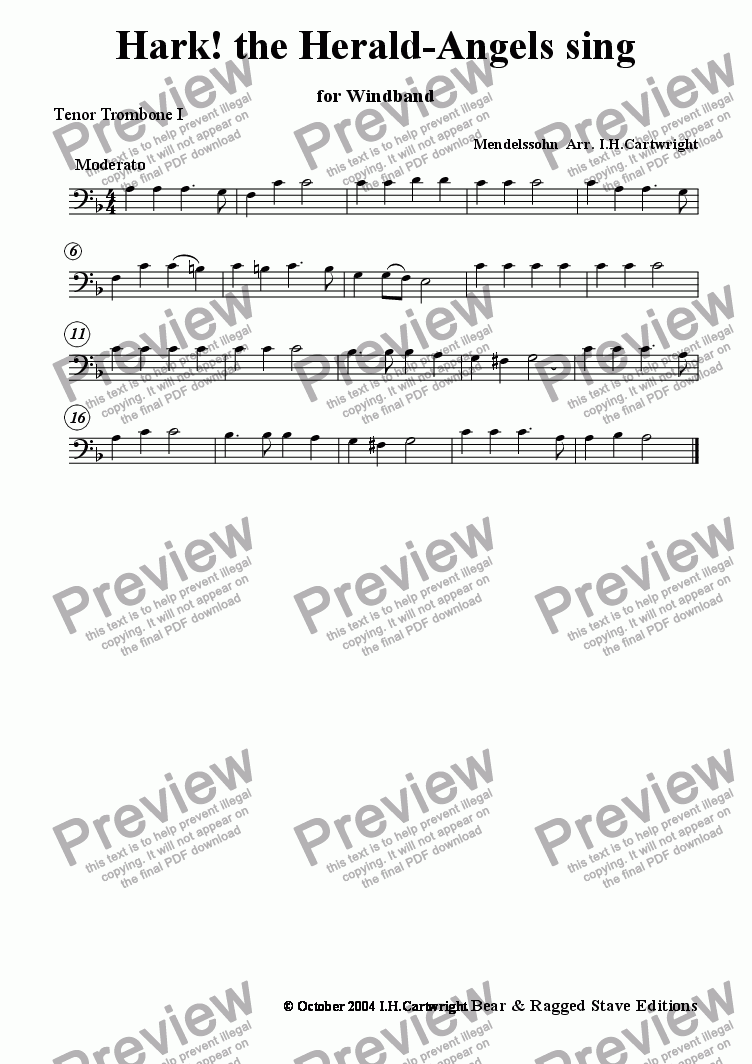 page one of the Tenor trombone I part from Hark! the herald Angels sing for wind band