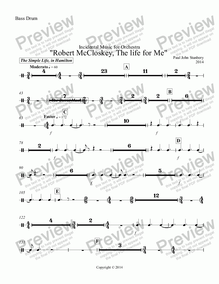 "page one of the Bass Drum part from ""Robert McCloskey, The life for Me"""