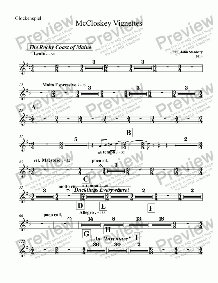 page one of the Glockenspiel part from McCloskey Vignettes