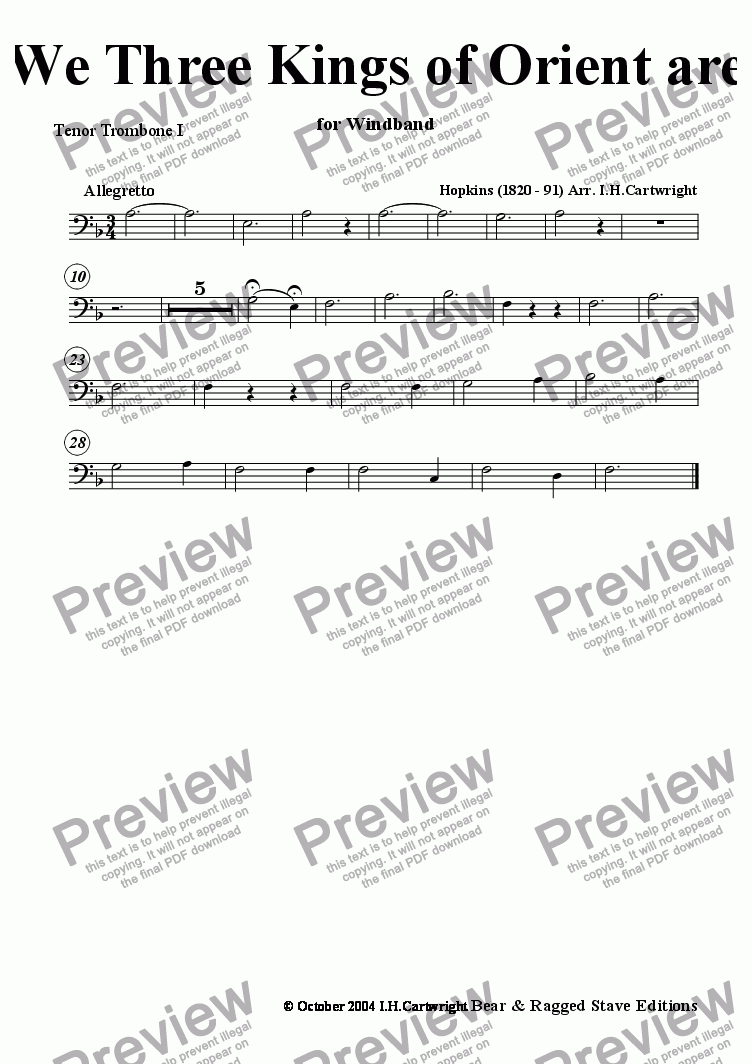 page one of the Tenor Trombone I part from We three kings of Orient are for wind band