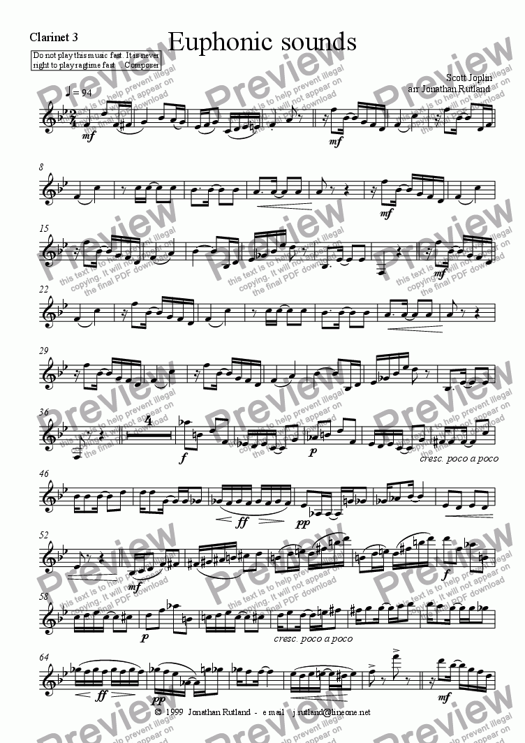 page one of the Clarinet 3 part from Euphonic sounds