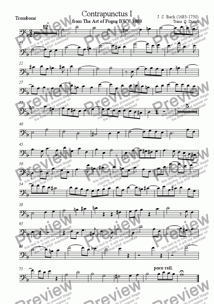 page one of the Trombone part from Contrapunctus 1 from The Art of Fugue