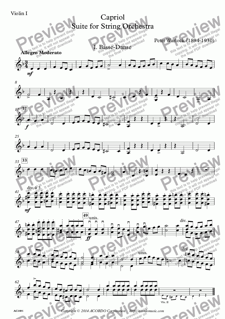 page one of the Violin I part from Capriol Suite for String Orchestra
