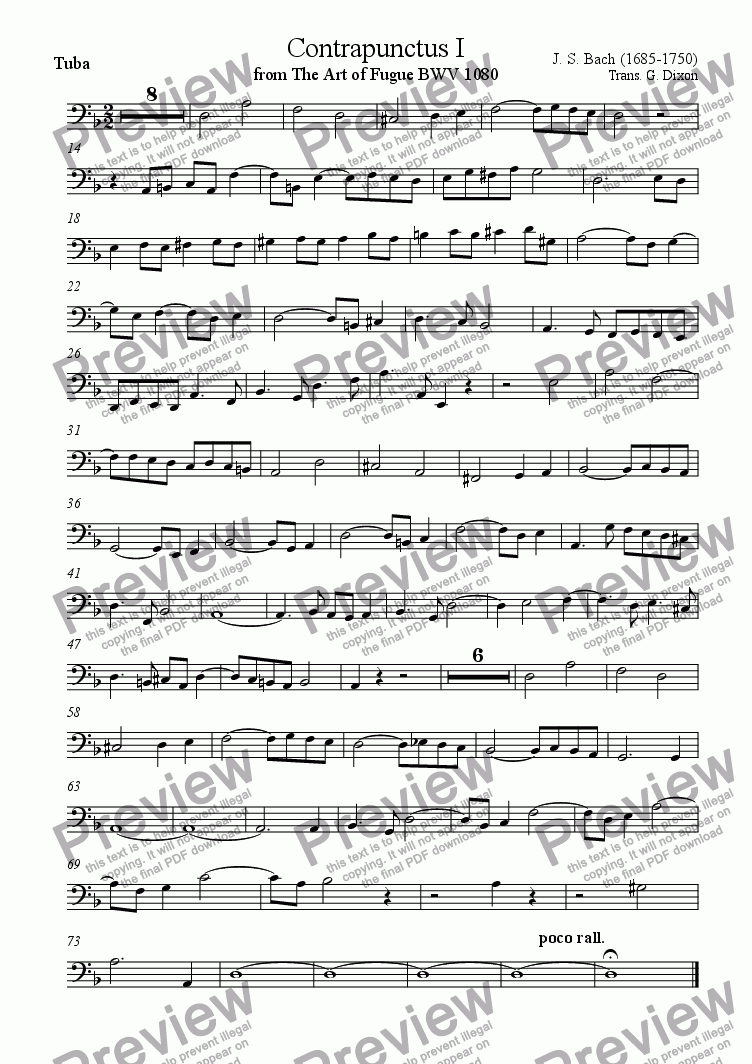page one of the Tuba part from Contrapunctus 1 from The Art of Fugue