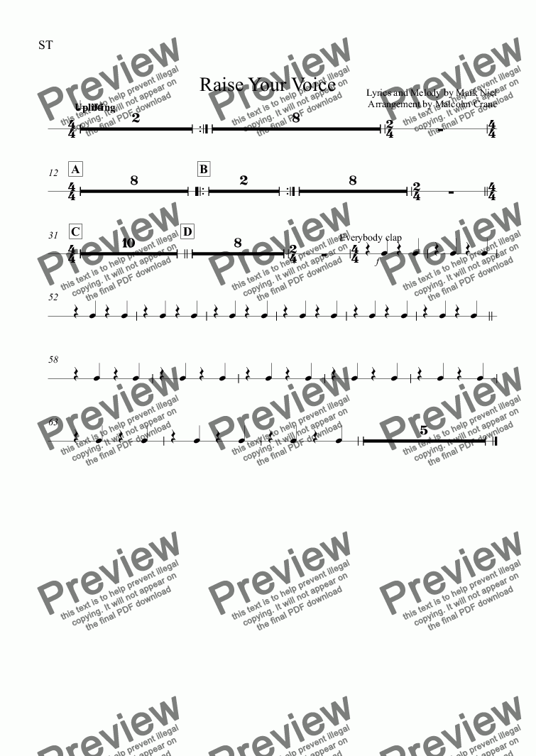 page one of the ST part from Raise Your Voice (Full Score)