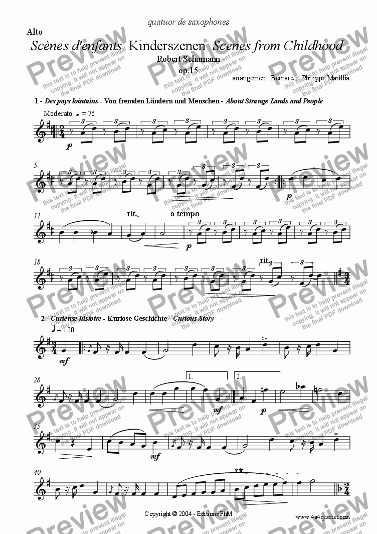 page one of the Alto part from Schumann - Kinderszenen - Full (Sax Quartet)