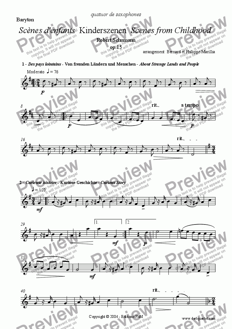 page one of the Baritone part from Schumann - Kinderszenen - Full (Sax Quartet)