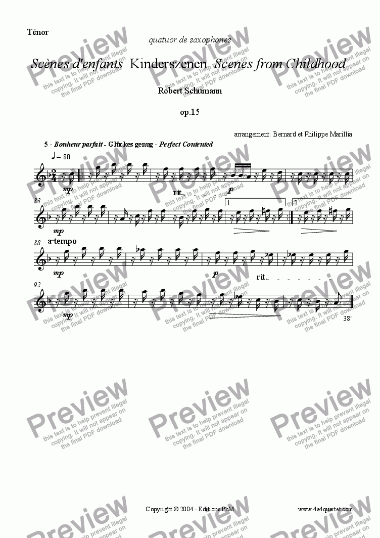 page one of the Tenor part from Schumann - Kinderszenen #5 (Sax Quartet)