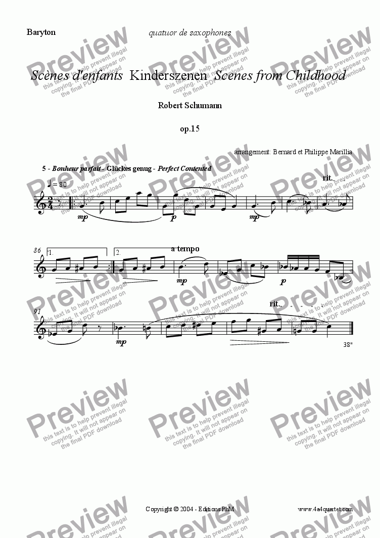 page one of the Baritone part from Schumann - Kinderszenen #5 (Sax Quartet)