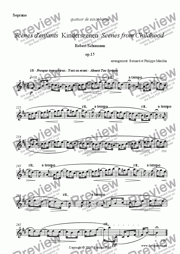 page one of the Soprano part from Schumann - Kinderszenen #10 (Sax Quartet)