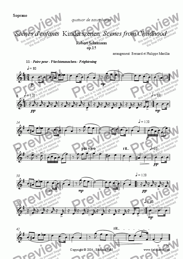page one of the Soprano part from Schumann - Kinderszenen #11 (Sax Quartet)