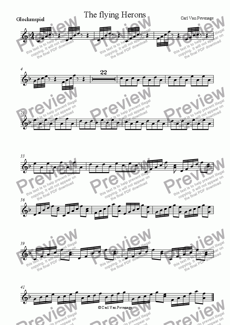 page one of the Glockenspiel part from The flying herons
