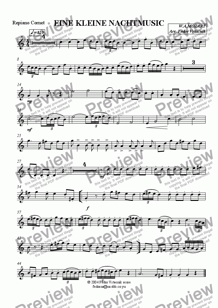 page one of the repiano cornet part from EINE  KLEINE  NACHTMUSIC-1st. movement