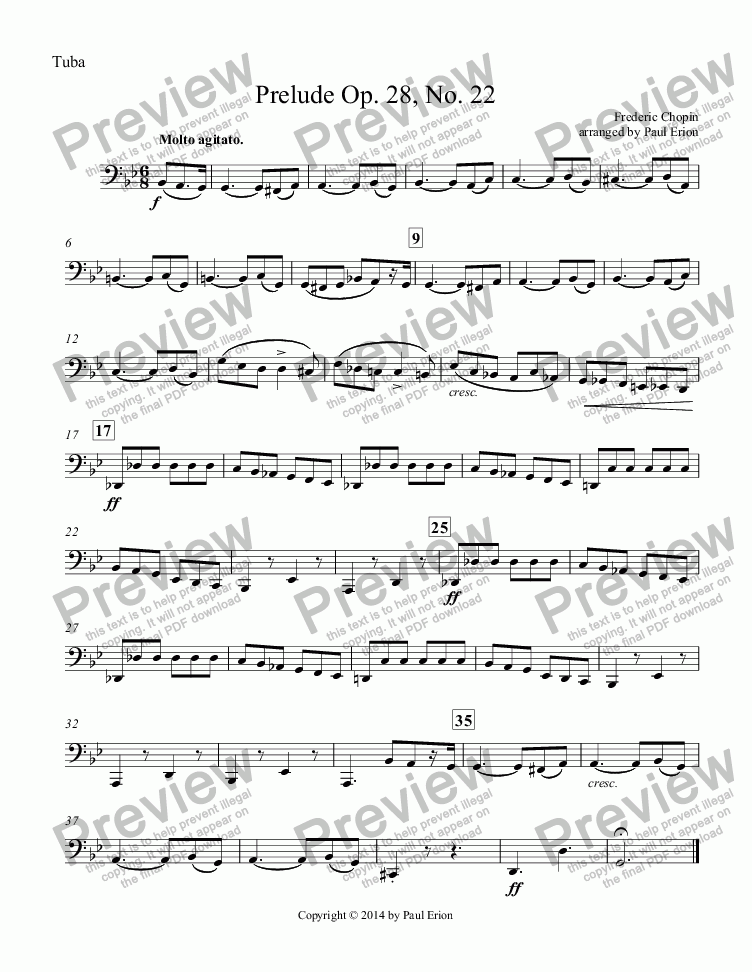 page one of the Tuba part from Prelude Op. 28, No. 22