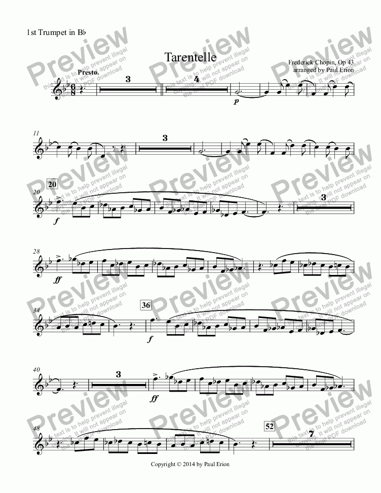 page one of the 1st Trumpet in B^b part from Tarentelle