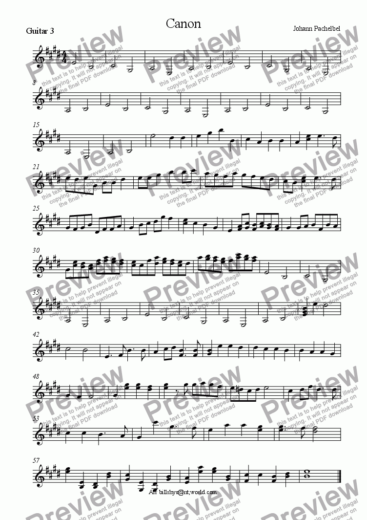 page one of the Guitar 3 part from Three part Canon
