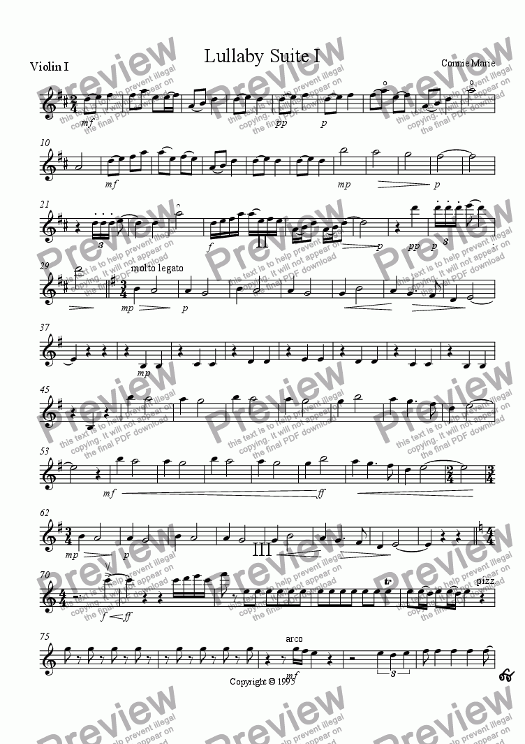 page one of the violin part from Lullaby Suite I