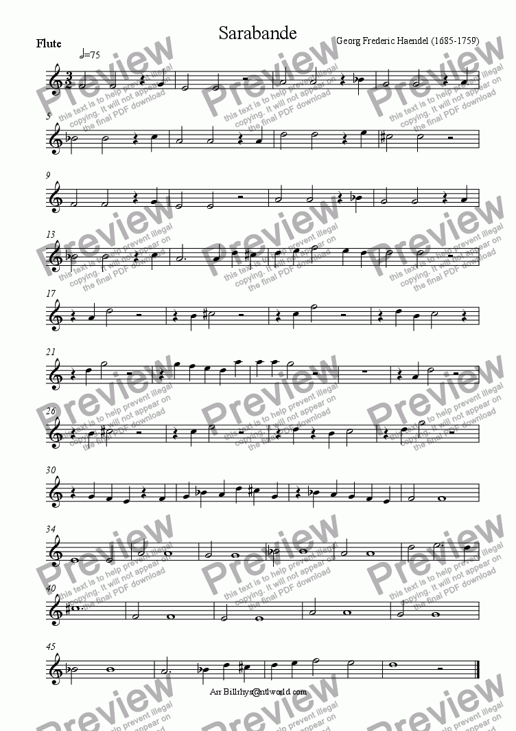 page one of the woodwind part from Sarabande