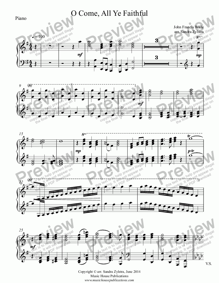 page one of the Piano part from O Come, All Ye Faithful (two-piano duet)
