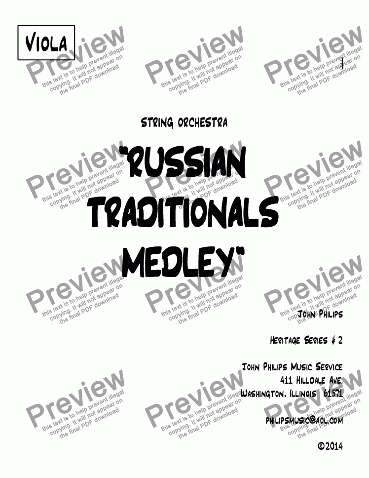 "page one of the Viola part from ""RUSSIAN TRADITIONALS MEDLEY"""