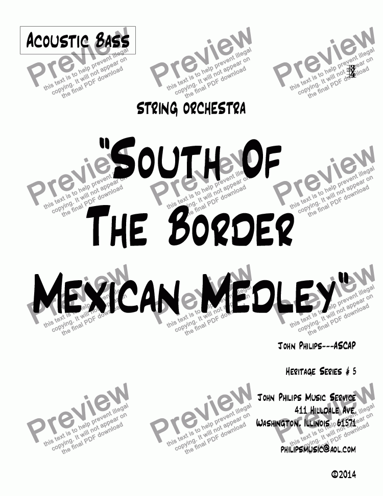 "page one of the Acoustic Bass part from ""South Of The Border Mexican Medley"""