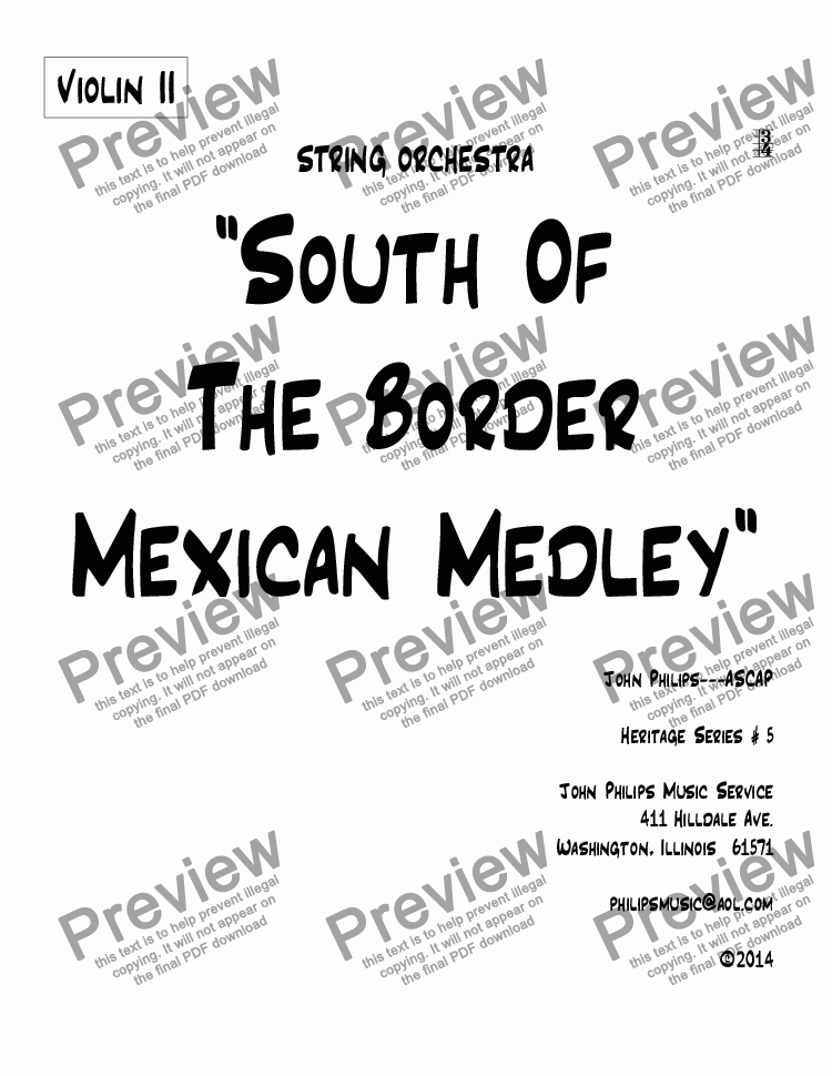 "page one of the Violin II part from ""South Of The Border Mexican Medley"""