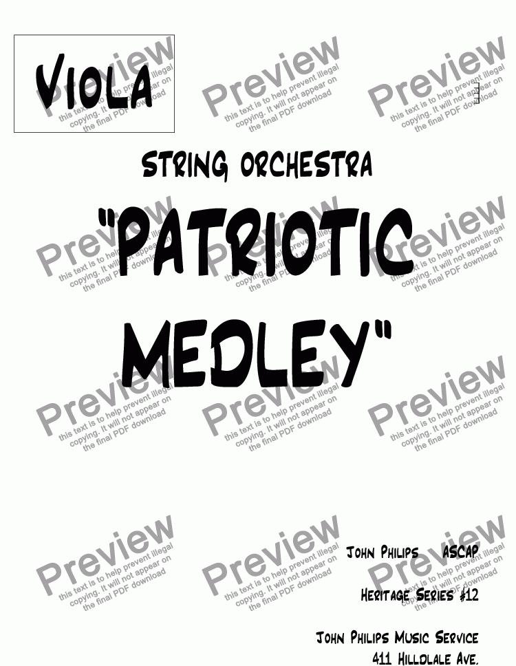 "page one of the Viola part from ""PATRIOTIC MEDLEY"""