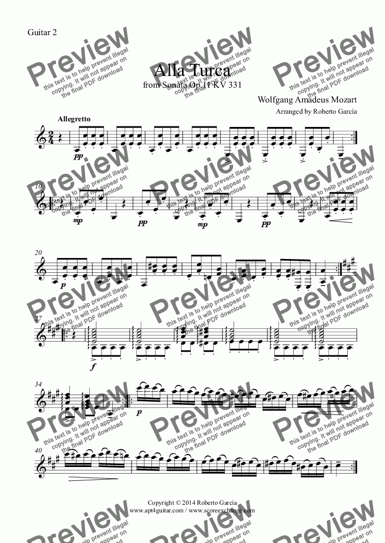 page one of the Guitar 2 part from Alla Turca for guitar duet