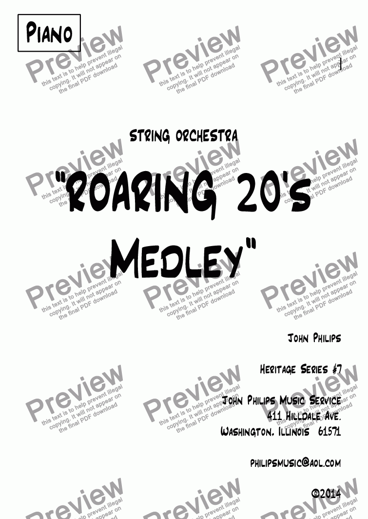 "page one of the Piano part from ""ROARING 20's Medley"""