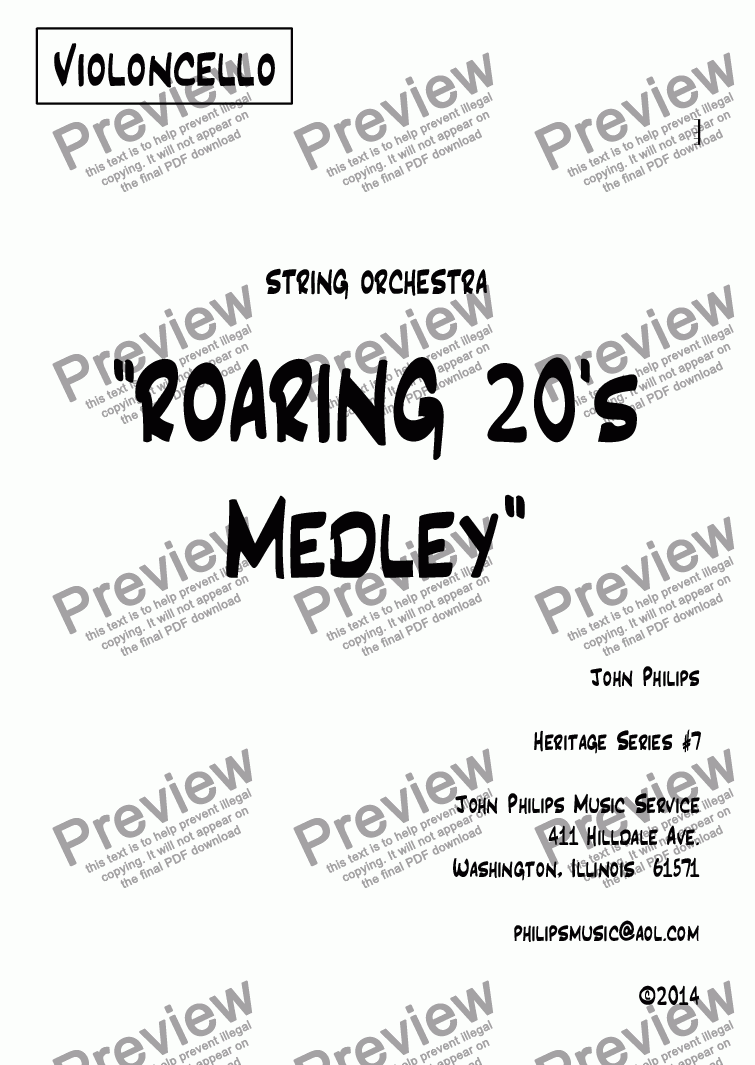 "page one of the Violoncello part from ""ROARING 20's Medley"""