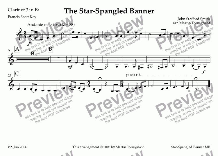 page one of the Clarinet 3 in B^b part from Star-Spangled Banner, The