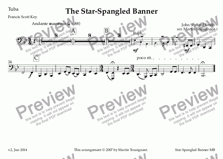 page one of the Tuba part from Star-Spangled Banner, The