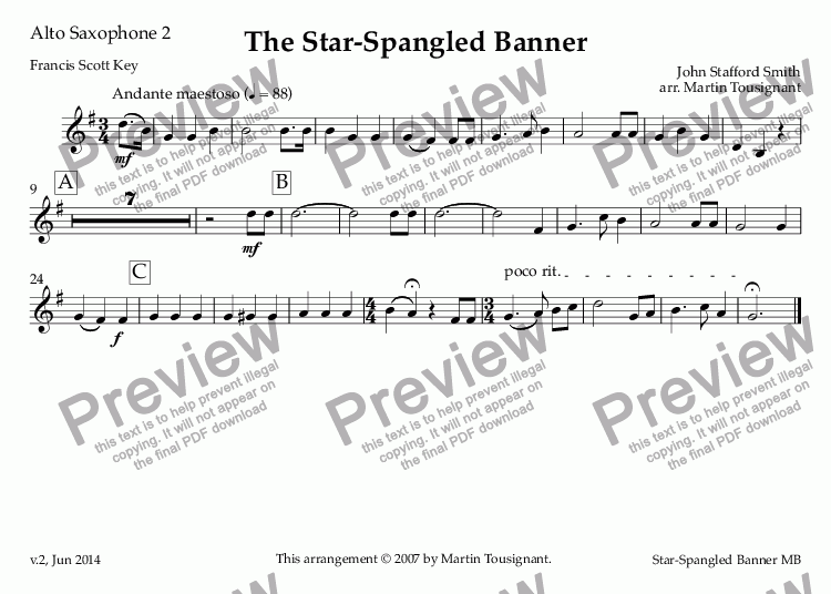 page one of the Alto Saxophone 2 part from Star-Spangled Banner, The
