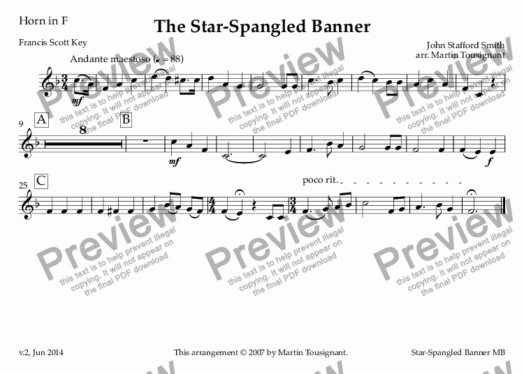 page one of the Horn in F part from Star-Spangled Banner, The
