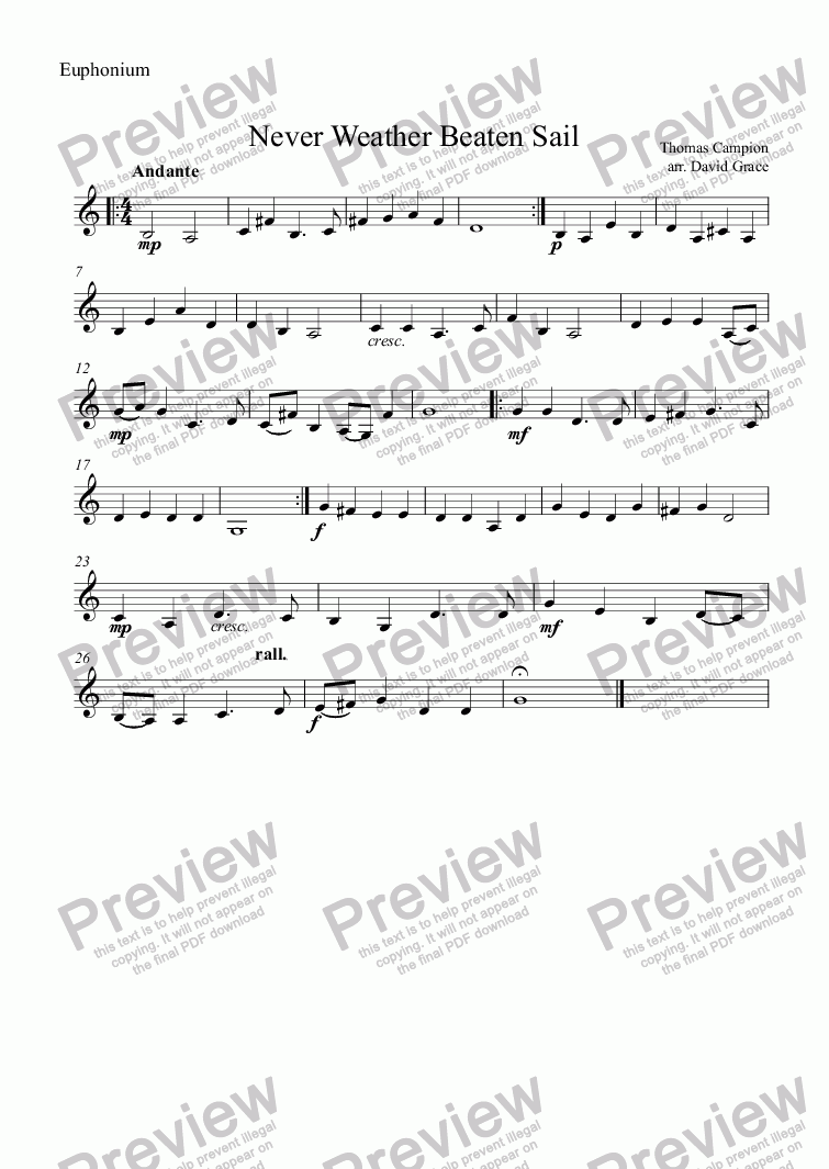 page one of the Euphonium part from Never Weather Beaten Sail [Campion]