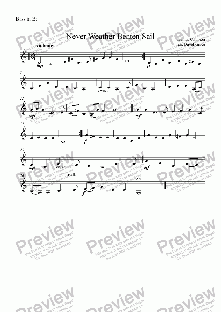 page one of the Bass in B^b part from Never Weather Beaten Sail [Campion]