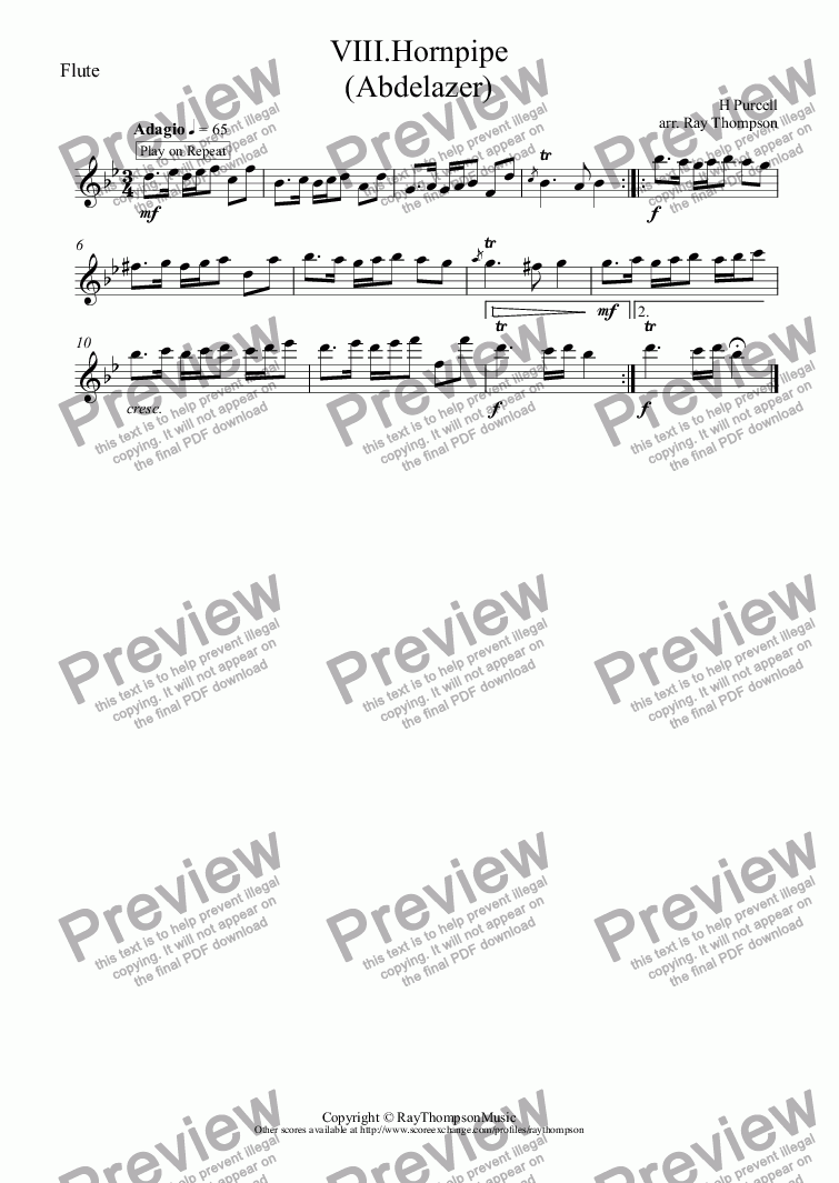 "page one of the Flute part from Purcell: Suite from Abdelazer: Mvt.VIII.Hornpipe (aka ""Hole in the Wall"")( arr.wind quintet"